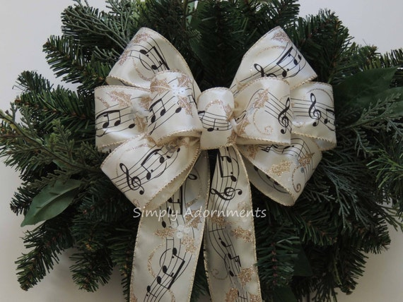 Ivory Gold Music Sheet Bow Musical Graduation Party Decor Music Gift Bow Winter Music Themed Decor Christmas Music Notes Hollies Tree Bow