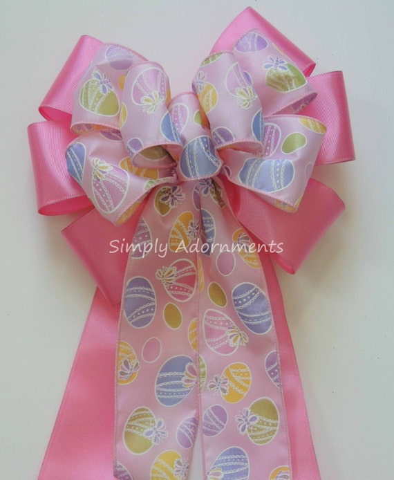 Pink Easter Eggs Bow Pastel Pink Easter Wreath Bow Pink Easter Door Hanger Decoration Easter Shower Party Decor Easter Basket Gift Bow
