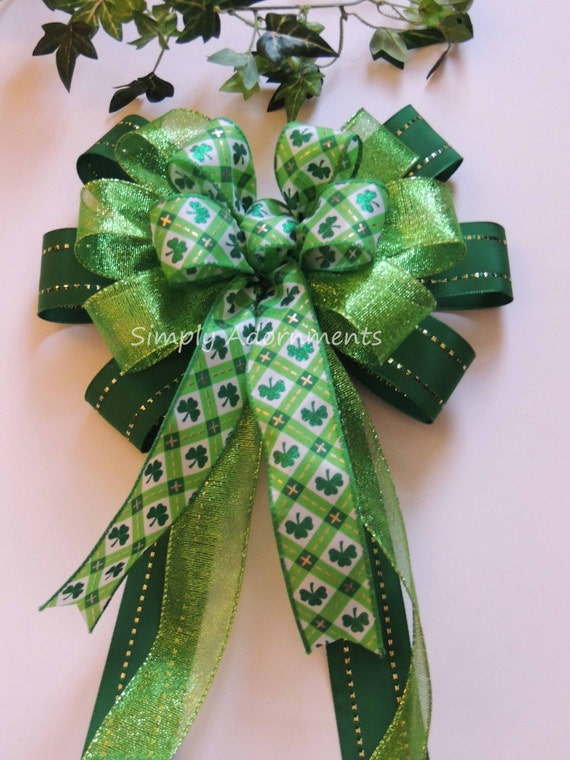 Shamrock Kelly Green Bow Saint Patrick's day decor Wreath Bow Lucky Pot of Gold Wreath Bow Emerald Lime St. Patrick Shamrock Door Hanger Bow