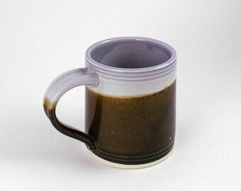 medium Coffee mug, cup, tea, in Lavender and Tenmoku Landscape