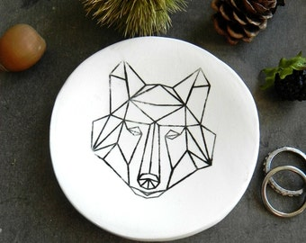 Wolf Porcelain Ring Dish Black White Geometric Design Woodland Ceramic Plate Jewelry Dish Home Decor