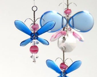 Birthday Gift Baby Girl Room Decor Idea Pink Butterfly Mobile Suncatcher Christmas Ornament Children Hanging Mobile Whimsical Fairy Mobile