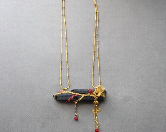 EL NOCHE Black Bib Necklace - Statement Art Natural Raw Crystal Morion in Brass Wire Crochet Necklace - Unusual Unique Organic Necklace