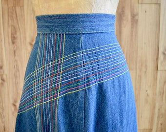 1970s Rainbow Denim A-Line Skirt, True Blue Denim Skirt, Rainbow Stitching, Multi-Color Boho Hippie Denim Midi Skirt