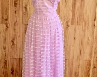 1960s Lavender Pink Strapless Prom Dress, Sixties Horizontal Striped Floor Length Formal Gown, Sweethear Neckline Ball Gown