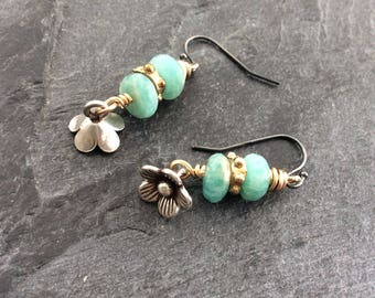Flower dangle earrings - 'flower belle' - semi precious gems, minimalist everyday sterling silver earrings, Mother's Day gift for her