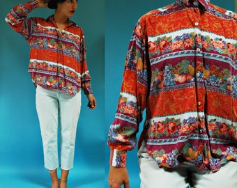 1980s Floral and Fruit Striped Colorblock Printed Silk Blouse