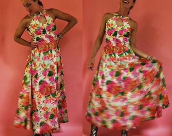 1960s Pink Summer Floral Halter