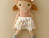 Fabric Doll Rag Doll Light Brown Haired Dancing Girl in Salmon Pink Satin Leotard, Gold Star Organza Skirt, and Leg Warmers