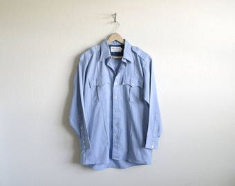 Vintage Uniform Shirt, Mens Uniform Shirt, Womens Uniform Shirt, Epaulet Shirt, Light Blue, Police Uniform, Western Shirt, Made USA, 16-32