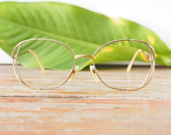 Eyeglass Vintage  1970's Funky Oversize Eyeglasses By Lamy Silver and gold Toned all metal frame Glasses