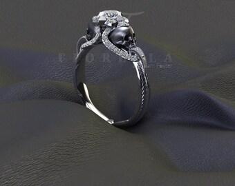 Half Carat Princess Cut Diamond Vapor Gunmetal Skull Engraved Engagement Ring