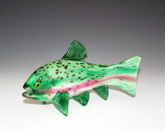 Hand Blown Glass Fish Rainbow Trout Sculpture