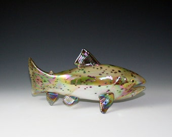 Hand Blown Glass Trout Sculpture - Brown Trout