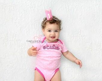 1st Birthday Crown // Pink & White First Birthday Crown // Mini Crown // Ready to Ship // by Born TuTu Rock