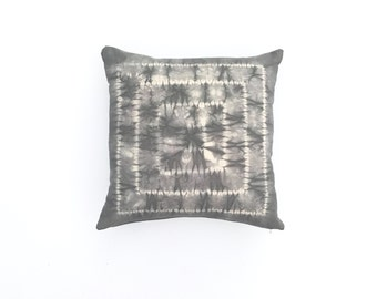 Charcoal Gray Shibori Pillow with Square Pattern Shibori Pillow Cover Grey Shibori Pillow Decorative Pillow cover 20 x 20 Cushion cover