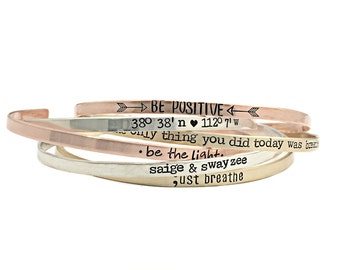 Personalized Cuff Bracelet - Mantra Band - Inspirational Jewelry - Skinny Cuffs - Hand Stamped Stacking Bangle - Be Positive Quote - 1183
