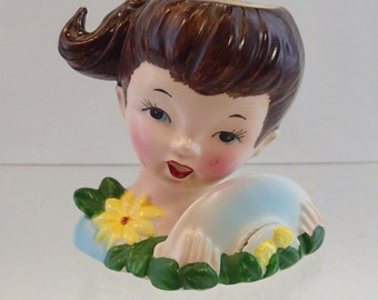 Lady Head Vase Headvase Little Girl With Pony Tail Holding Her Hat Card Holder Light Blue Yellow Flower Daisies 50s mid century 1950 E