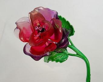 FREE Shipping Vintage Plastic Lucite Transparent Rose Brooch Pin Metal Enamel Rhinestone Pink Purple Flower Power