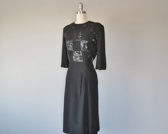 40s wool crepe sequined dress size small - medium / 40s beaded dress / 40s crepe dress