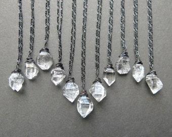 Herkimer Diamond Necklace - Raw Crystal Necklace - Raw Quartz Necklace - Raw Stone Necklace - Raw Gemstone Necklace - Boho Crystal Pendant