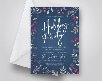 Holiday Party Invitation, Foliage Christmas Party, Navy, Silver Holiday Party, Printable 5x7 holiday invite