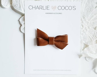 """Baby / Girls Leather Bow Headband, Leather Hair Bow Clip, Genuine Leather Baby Bows, Baby Hair Clip, Baby Leather Bow """"mini butterscotch"""""""