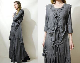 90s Vintage AVANT GARDE Dress Bondage Tie-up Straight Jacket Long Maxi Grey 3/4 Sleeve Draped Artistic Goth Grunge Witch Punk 1990s vtg XS S