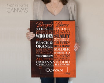 Cincinnati  Bengals / Chicago  Bears House Divided Print or Canvas housewarming gift for couple