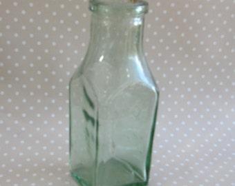 Large Vintage Heavy Square Glass Milk Bottle Flower Vase