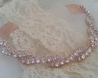 ROSE GOLD Bridal Headband Assemblage Sparkling Crystal Hair Accessories Wedding Bridesmaids Classic Elegant Bride Hair Wreath Hair Combs