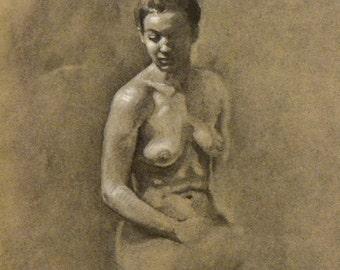 original charcoal drawing reclining nude woman