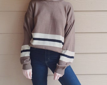 Oversized 90's Striped Pullover Knit Sweater Top // Unisex Men's Women's XL