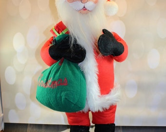 """20"""" TALL Annalee Mobilitee Santa Doll with Wire Stand and Bag of Presents, Hand painted, Santa Claus Doll, Collectible"""