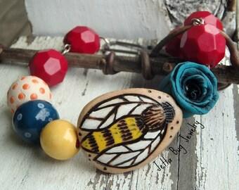 Happee- wood bumble bee. artisan ceramic. rustic summer bracelet. turquoise red yellow orange. Indie style. boho jewelry. jettabugjewelry