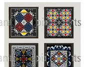 Art Black Blue Blue Red Yellow Moroccan Bone Inley Style Wall Art Print Collection -Set of (4) - Wall Art Print (UNFRAMED)