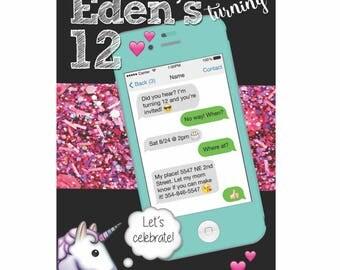 Text Message iPhone Unicorn Emoji Birthday Invitation