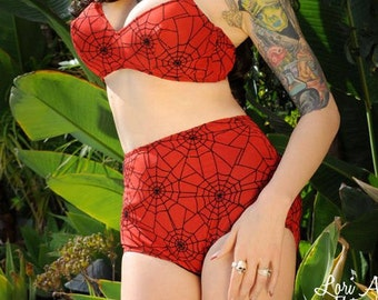 Red and Black Spiderweb 2 Piece Swimsuit