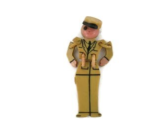 WWII Military Soldier Boy Brooch  Articulated Little Buddy Celluloid Collectible Early Art Plastic Jewelry