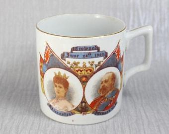 King Edward VII Coronation Colourful Mug 1902 Royal Coronation Commemorative Royalty Collectible