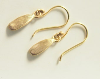 14k Gold Organic Drop Earrings//Handcrafted//One of a kind