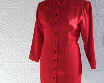 80s does 40s Red Shirtwaist Dress Delicious Details Hourglass Pin Up 1980s Secretary Daydress Business Casual 1940's Repro Black Button Down