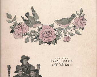 Vintage 1936 Robins and Roses Sheet Music Irving Berlin Cowboys Rustic Rhythm Trio