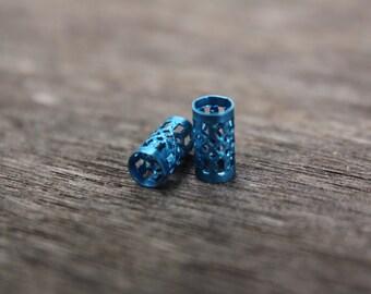 30 Blue Filigree Cuffs 5mm Hole (3/16 Inch)