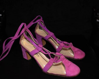 Mad Magenta-Incredible 60s Magenta Suede and Clear Perspex Lace-Up Heels