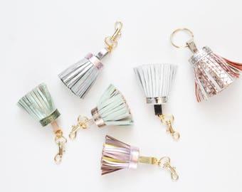 Natural leather key chain. Genuine leather keychain. Tassel keychain. Metal key fob. Handmade tassels. Bag charm. Metallic pastels.