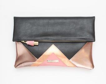 CARRIER 184 / Large clutch bag-leather purse-oversized metallic bag-rose gold black leather purse-geometric statement clutch-Ready to Ship