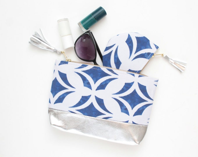 CHARMER 4 /Leather make up bag and pouch - gift set- blue and white pouch- make up purse set-traveling bags  - Ready to Ship