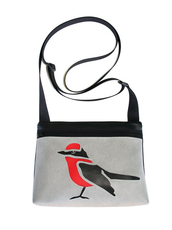bird, red and black, grey vinyl, boxy cross body, vegan leather, zipper top