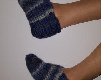 Hand Knit Woman Slipper Socks-Natural Wool Slippers -Home Slippers -Hand Knit Slippers -Wool Socks